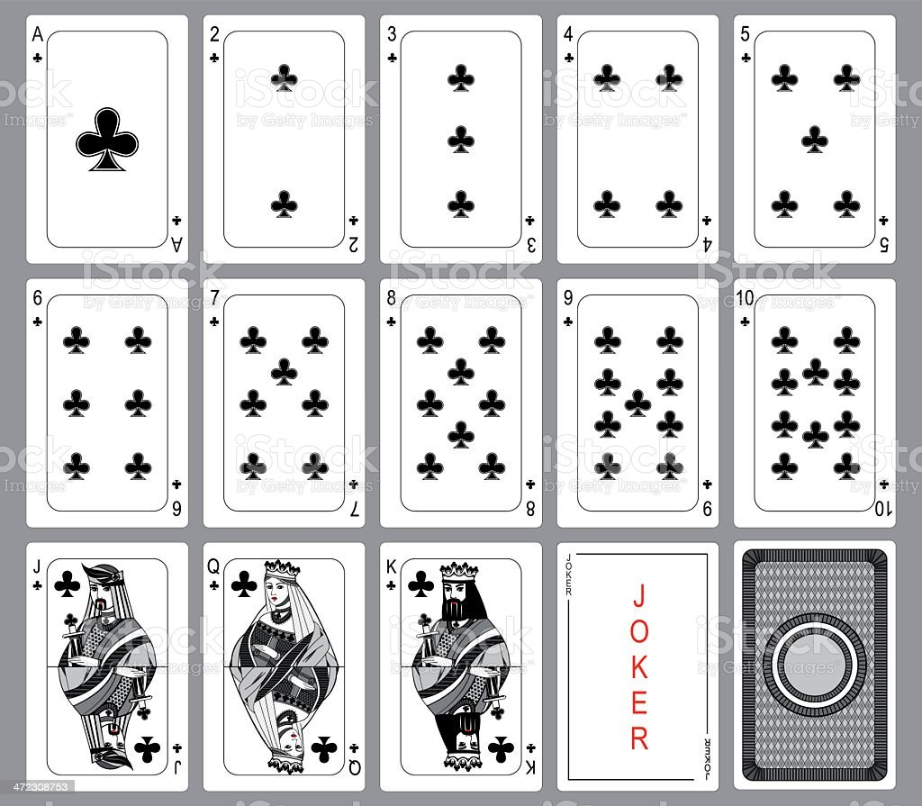 Set Playing cards of clubs. vector art illustration