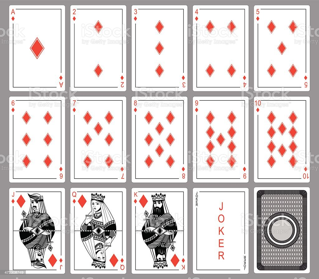 Set Playing cards of diamonds. vector art illustration