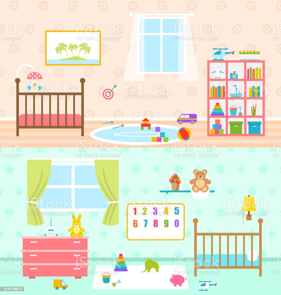 Set Playrooms for Kids. Baby Rooms Interior vector art illustration