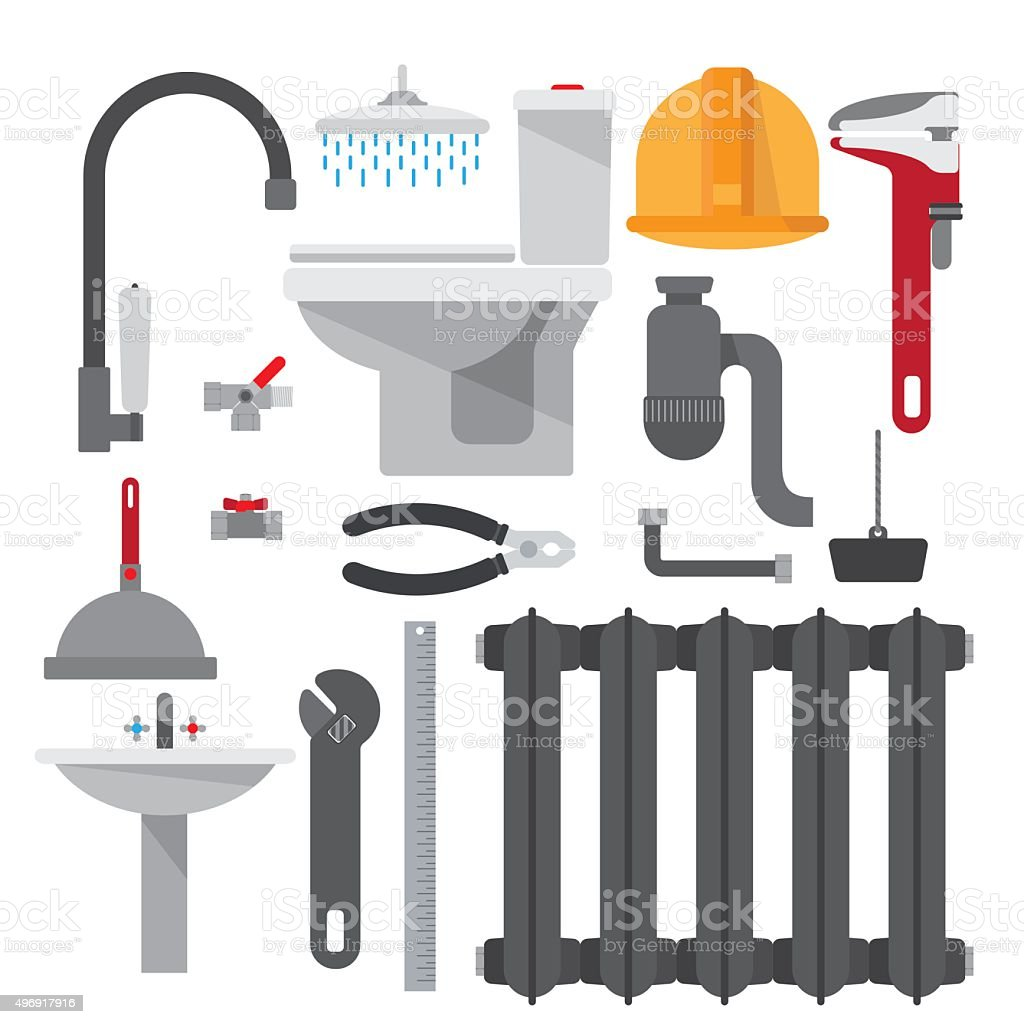 Set plumbing items vector art illustration