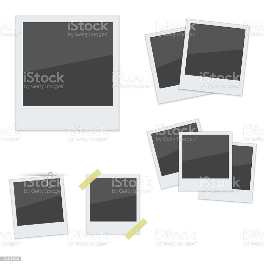 Set Polaroid photo frames on white background vector art illustration