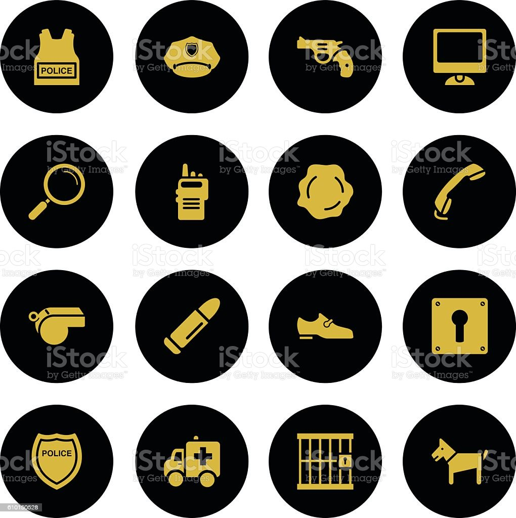 Set Police Icons Gold Series vector art illustration