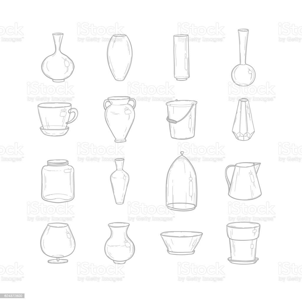 Set pots. Hand drawing. Style sketch. Vector illustration. vector art illustration
