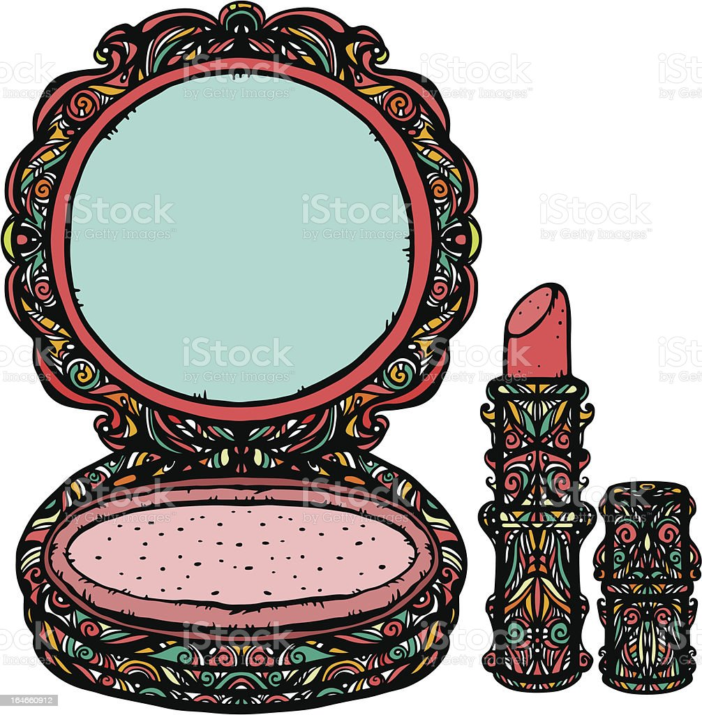 Set powder compact and lipstick royalty-free stock vector art