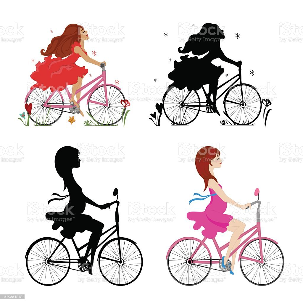 Set pregnant and non-pregnant girls riding bikes. Vector illustration.Square location. vector art illustration