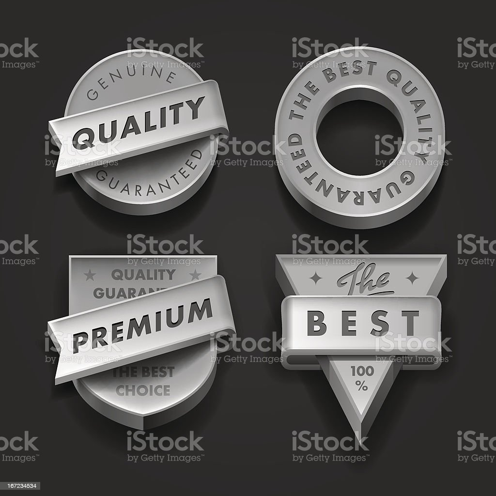 Set premium quality and guarantee labels three-dimensional royalty-free stock vector art