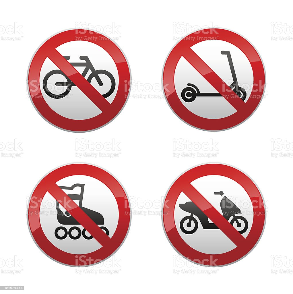 Set prohibited signs - active sports royalty-free stock vector art