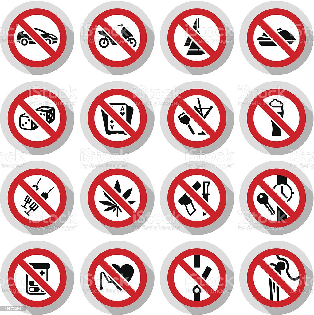 Set Prohibited symbols on paper stickers vector art illustration