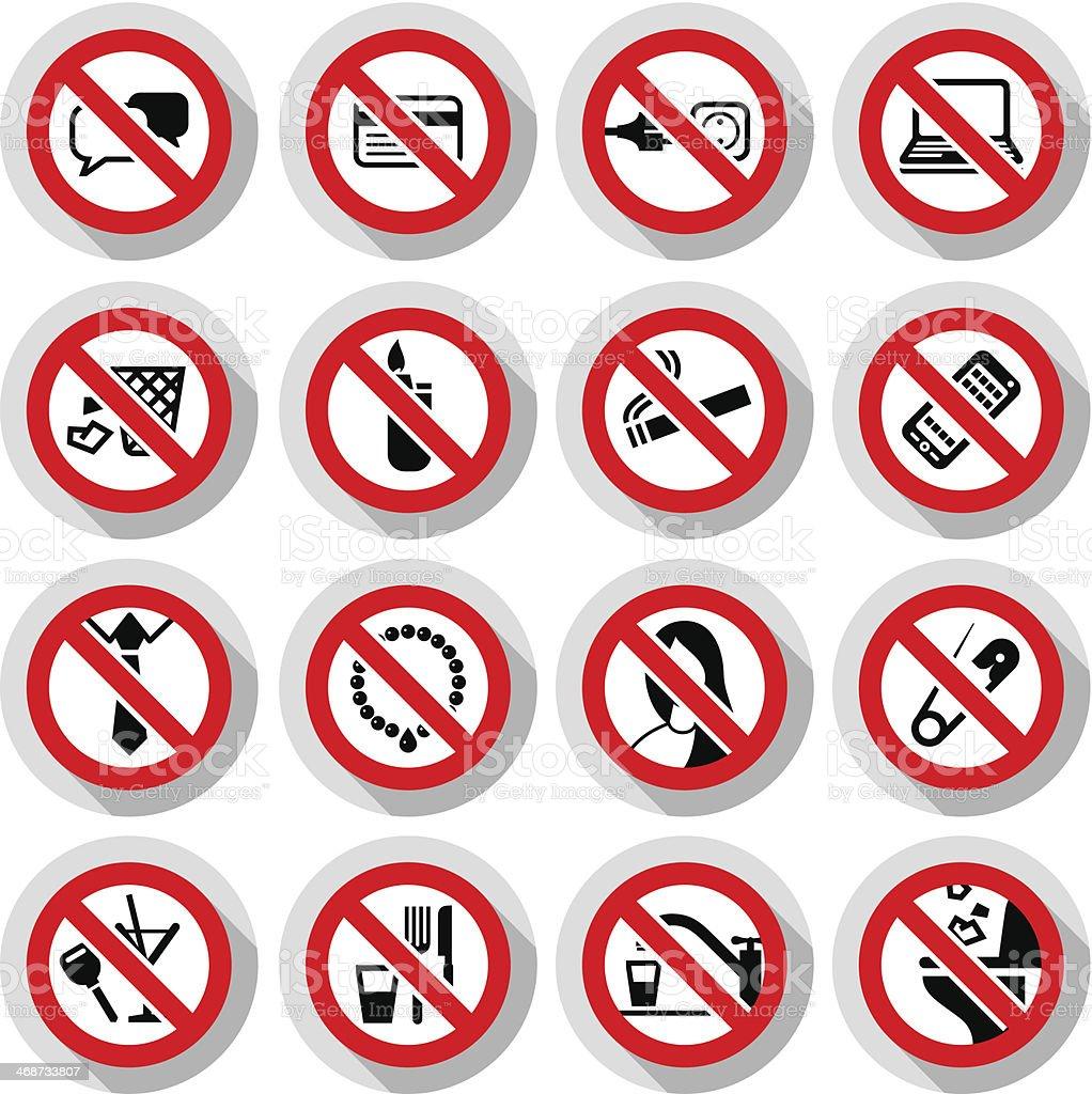Набор запрещенные символы векторная иллюстрация