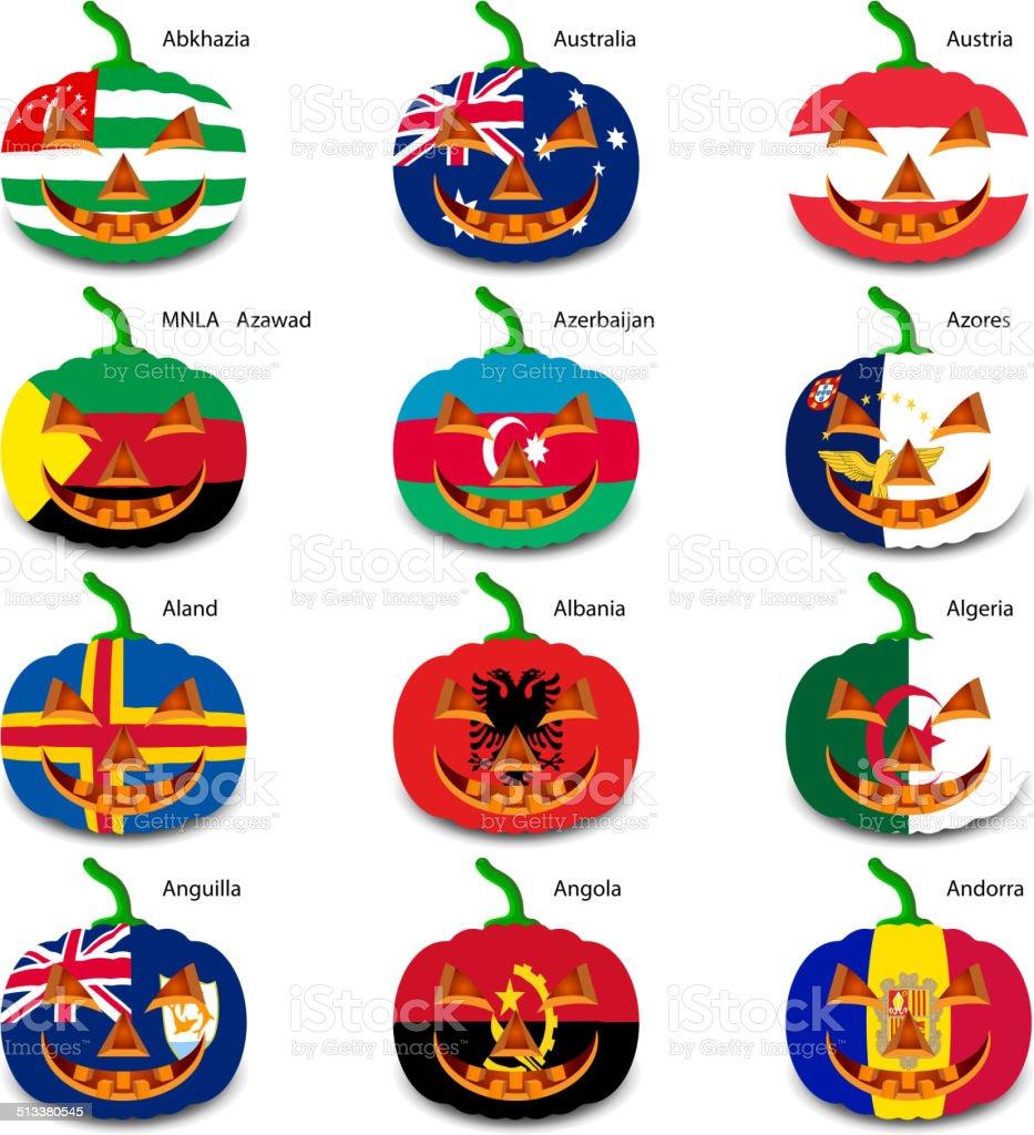 Set pumpkins for Halloween as a flags of the world. vector art illustration
