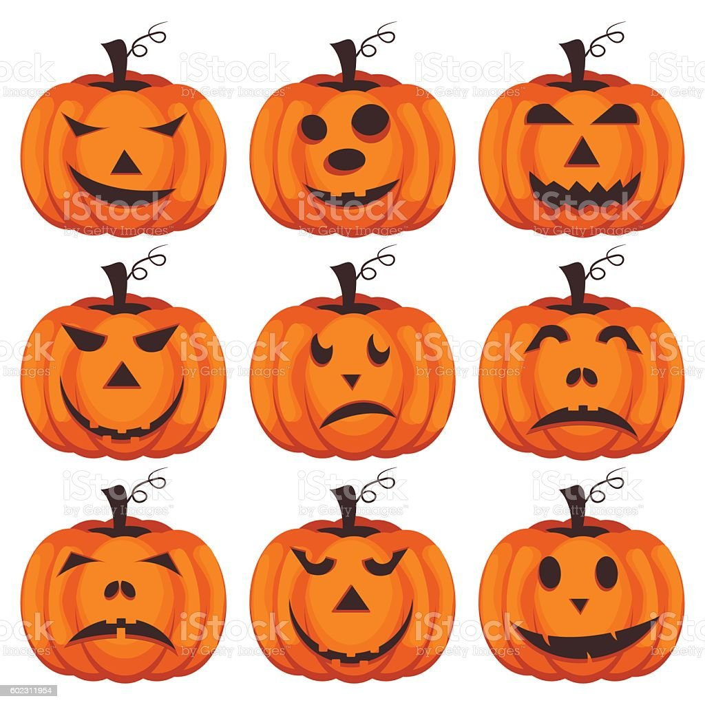 Set pumpkins for Halloween vector. vector art illustration