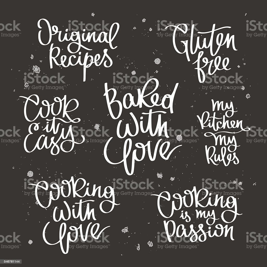 Set quotes about cooking vector art illustration