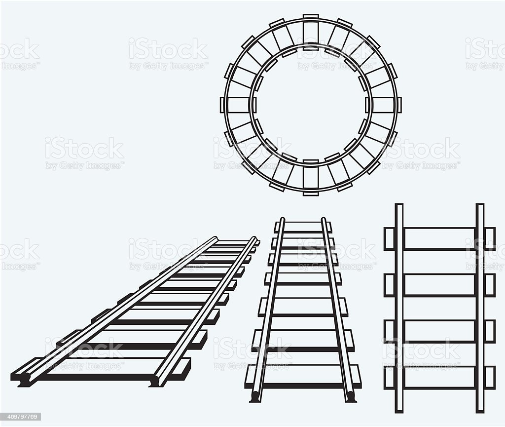 Set railroad vector art illustration