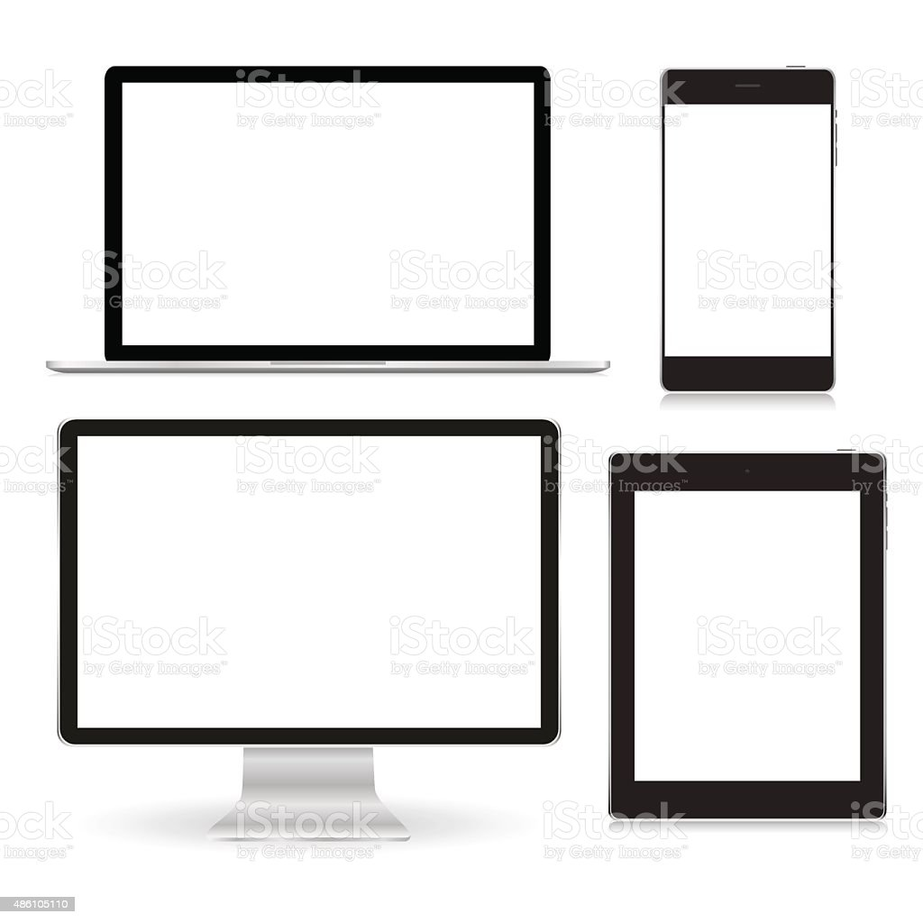 Set realistic Monitors laptop tablet and phone vector vector art illustration