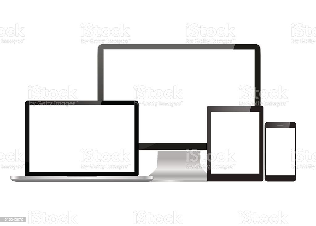 Set realistic Monitors laptop tablet vector art illustration