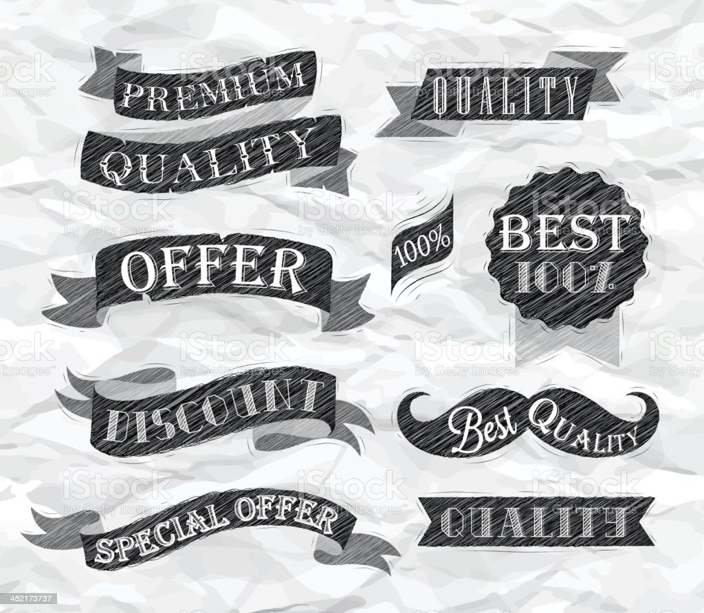 Set retro ribbons labels pen crumpled paper royalty-free stock vector art