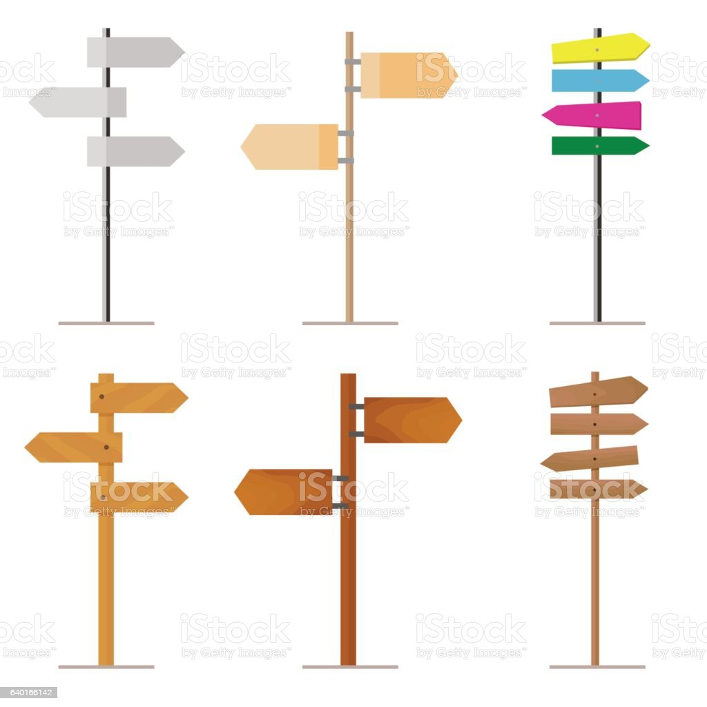 Set road signs made of wood or metal for your vector art illustration