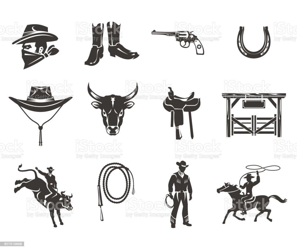 Set rodeo icons vector art illustration