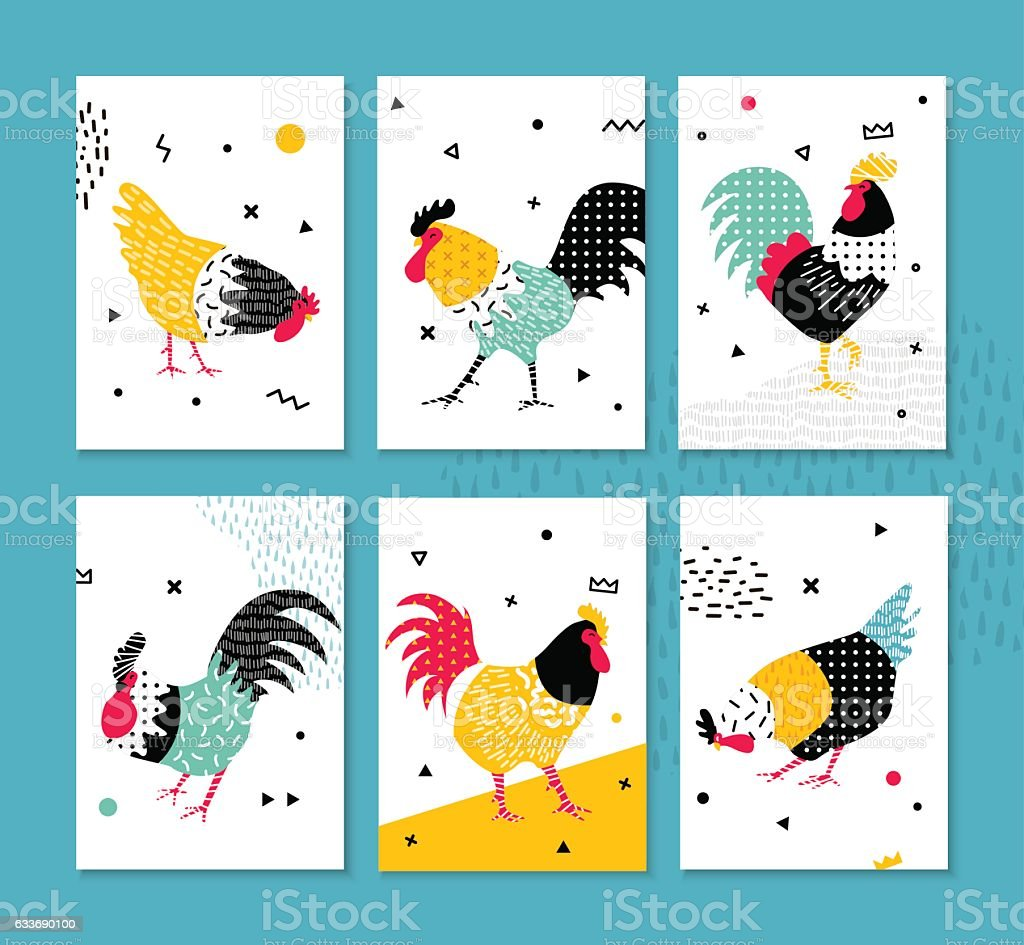 Set roosters in a pop art style. vector art illustration