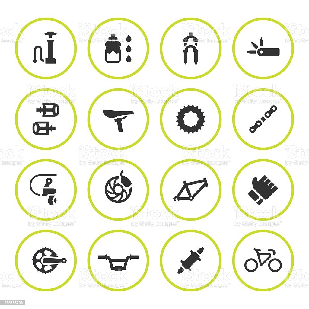 Set round icons of bicycle parts and accessories vector art illustration