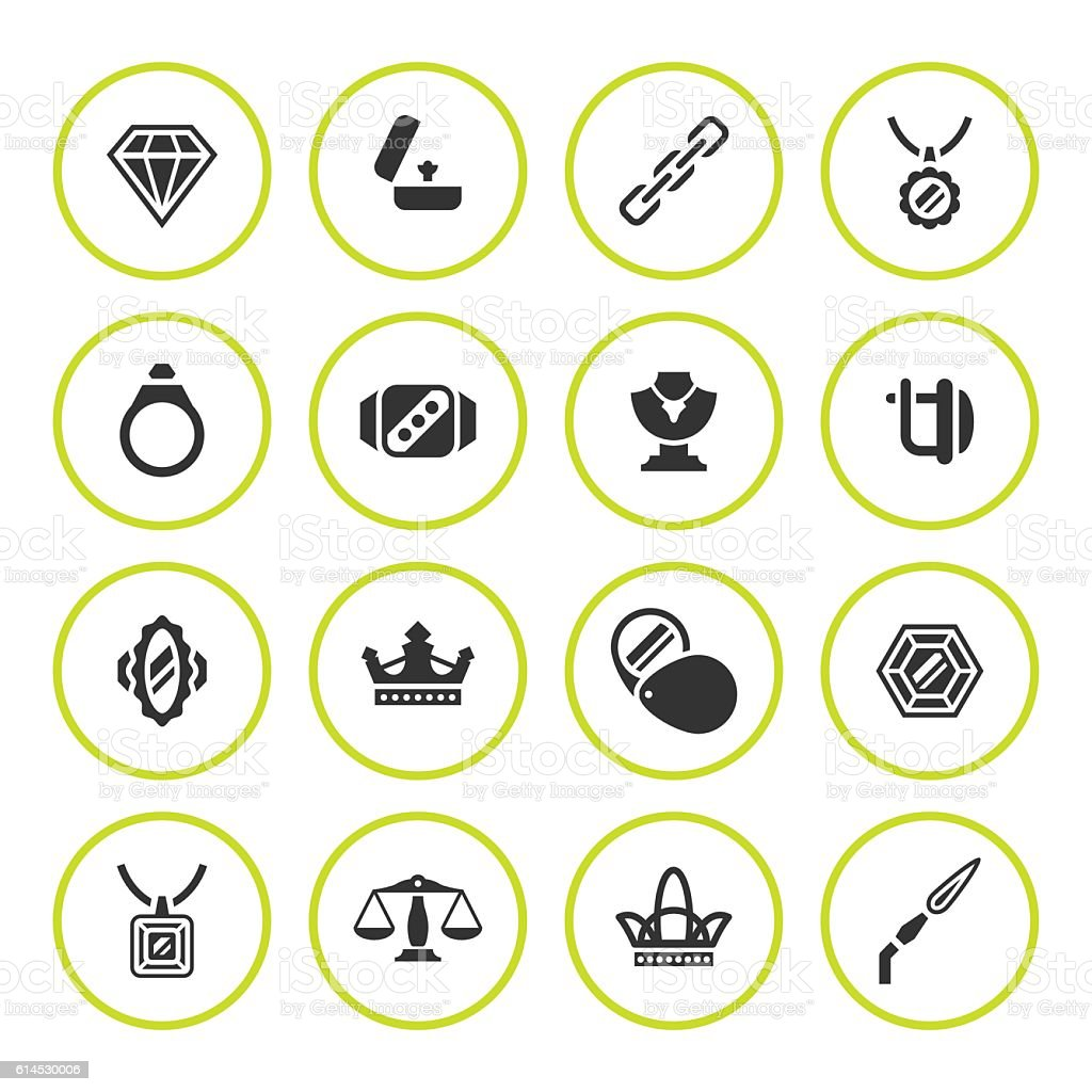 Set round icons of jewelry vector art illustration
