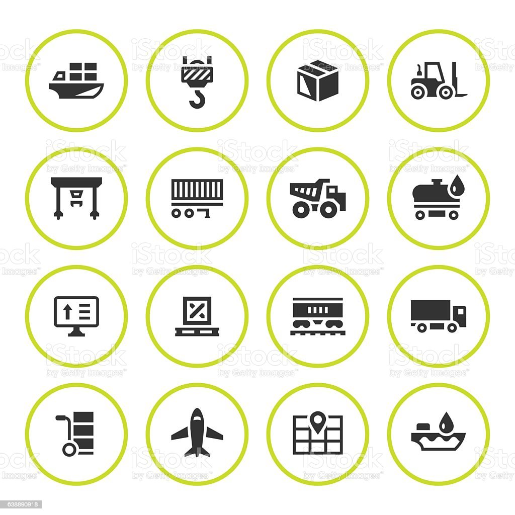 Set round icons of logistic vector art illustration