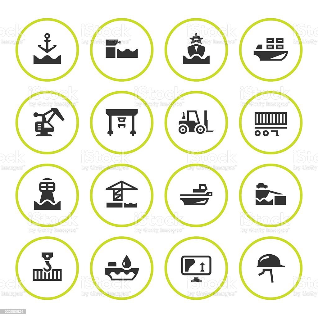 Set round icons of seaport vector art illustration