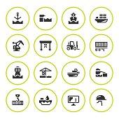 Set round icons of seaport