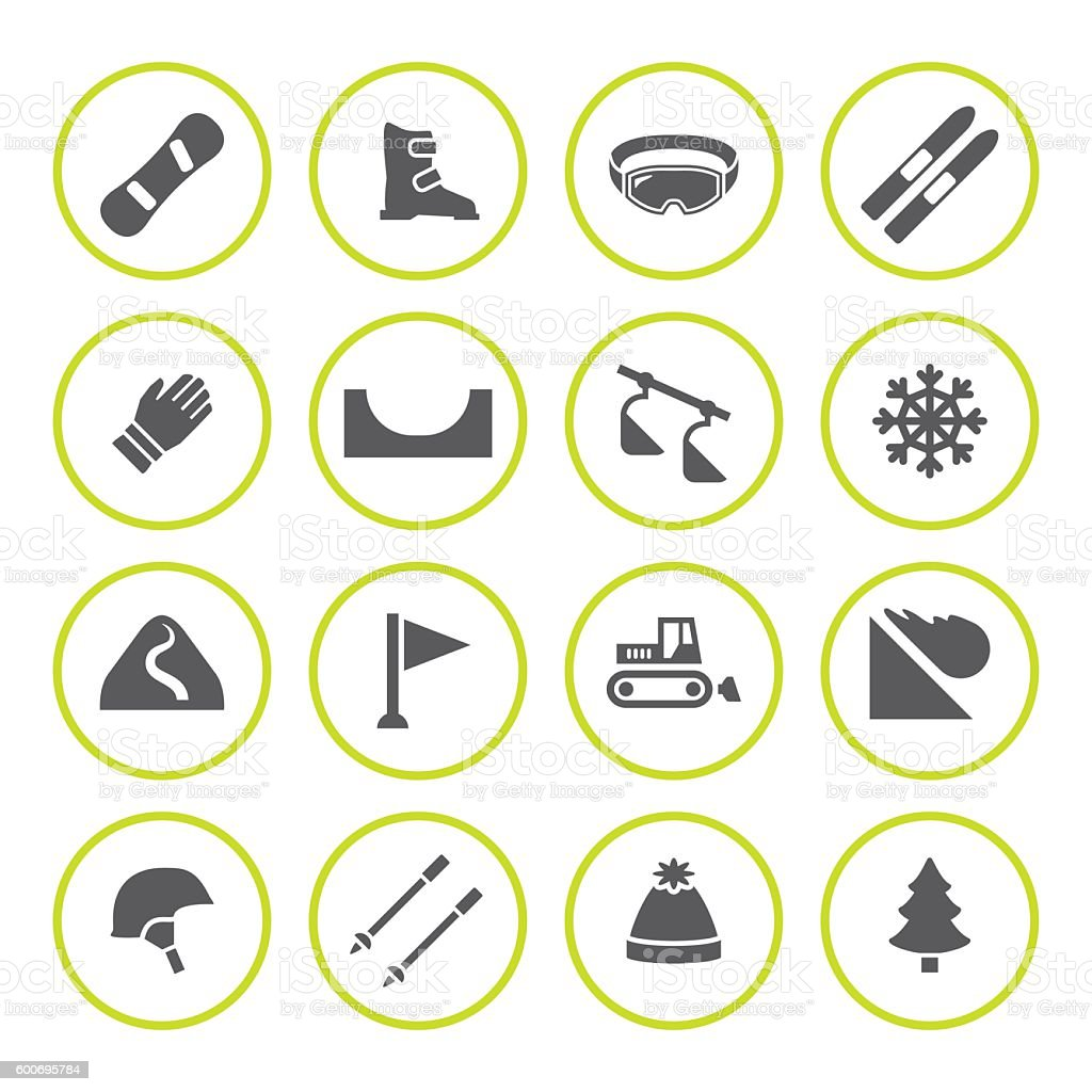 Set round icons of skiing and snowboarding vector art illustration