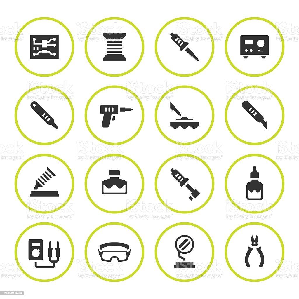 Set round icons of soldering vector art illustration