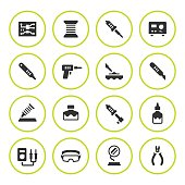 Set round icons of soldering