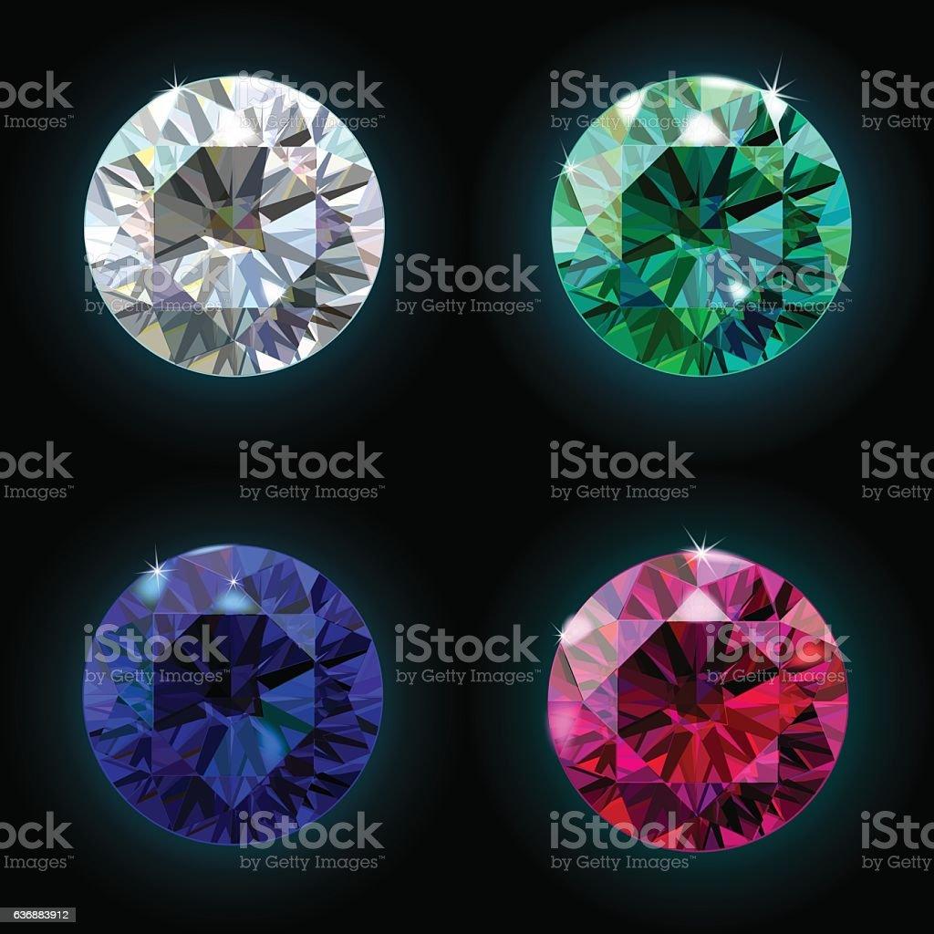 Set ruby sapphire emerald diamond. Vector vector art illustration