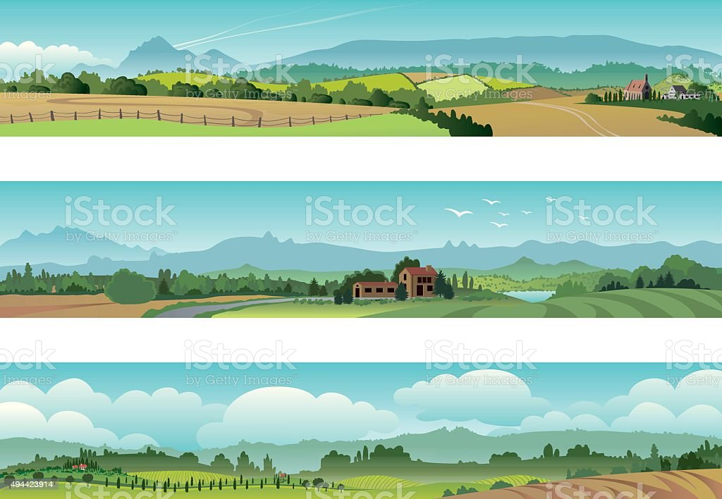 Set Rural Scene Landscape vector art illustration