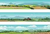 Set Rural Scene Landscape