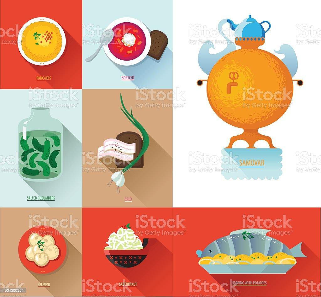 Set Russian national food vector art illustration