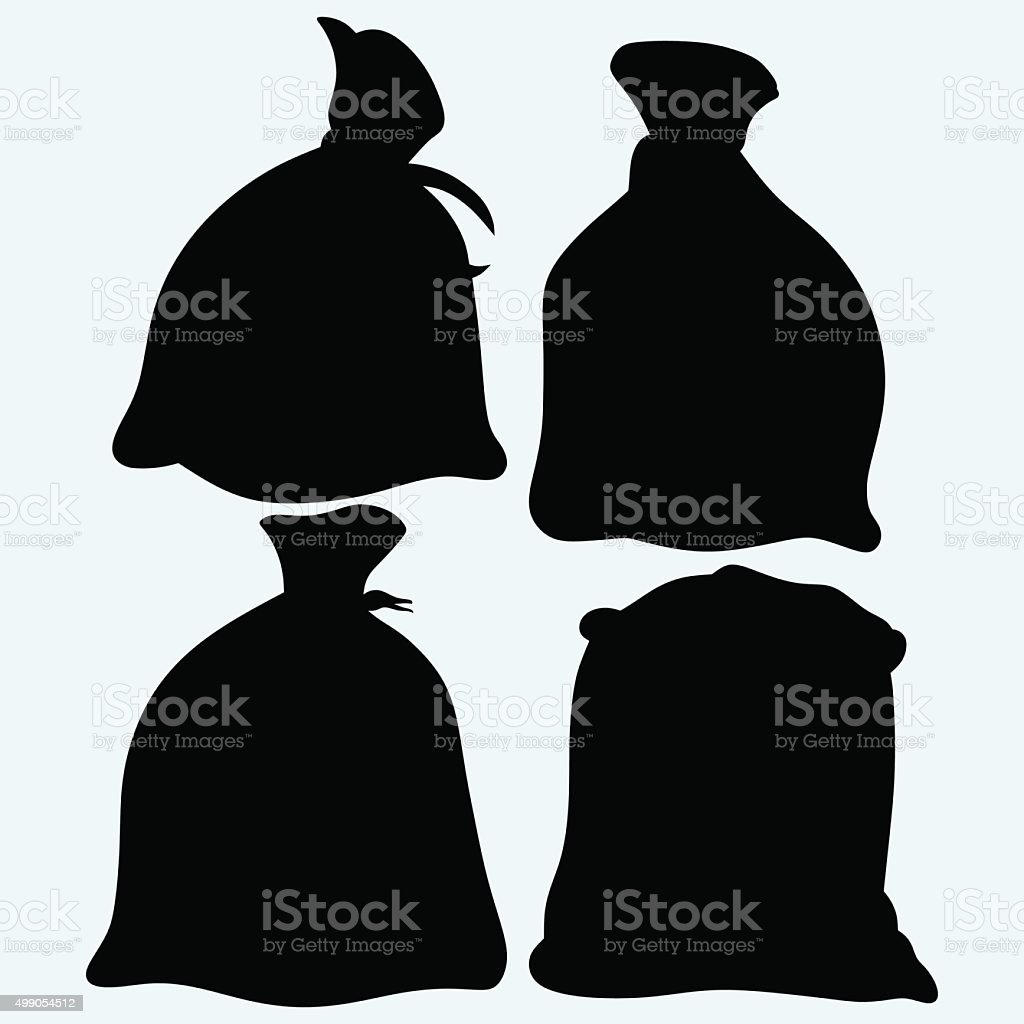Set sacks of grain vector art illustration