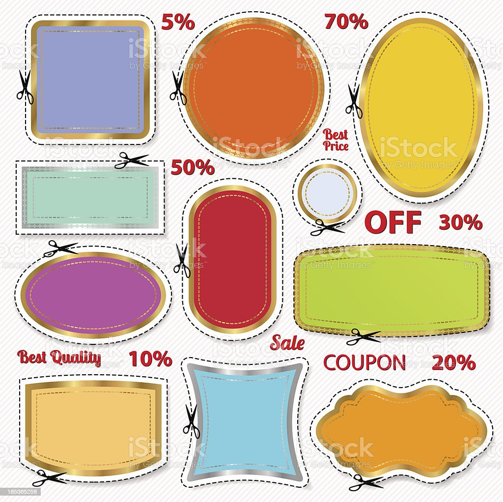 Set: Sale Coupons, labels template. Blank frame, scissors (cut off) royalty-free stock vector art