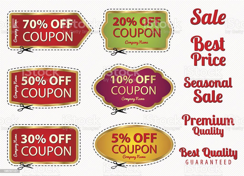 Set: Sale Coupons, labels template. Gold frame, scissors (cut off) royalty-free stock vector art