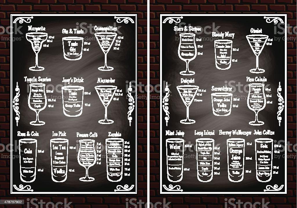 set schemes ingredients for making cocktails vector art illustration