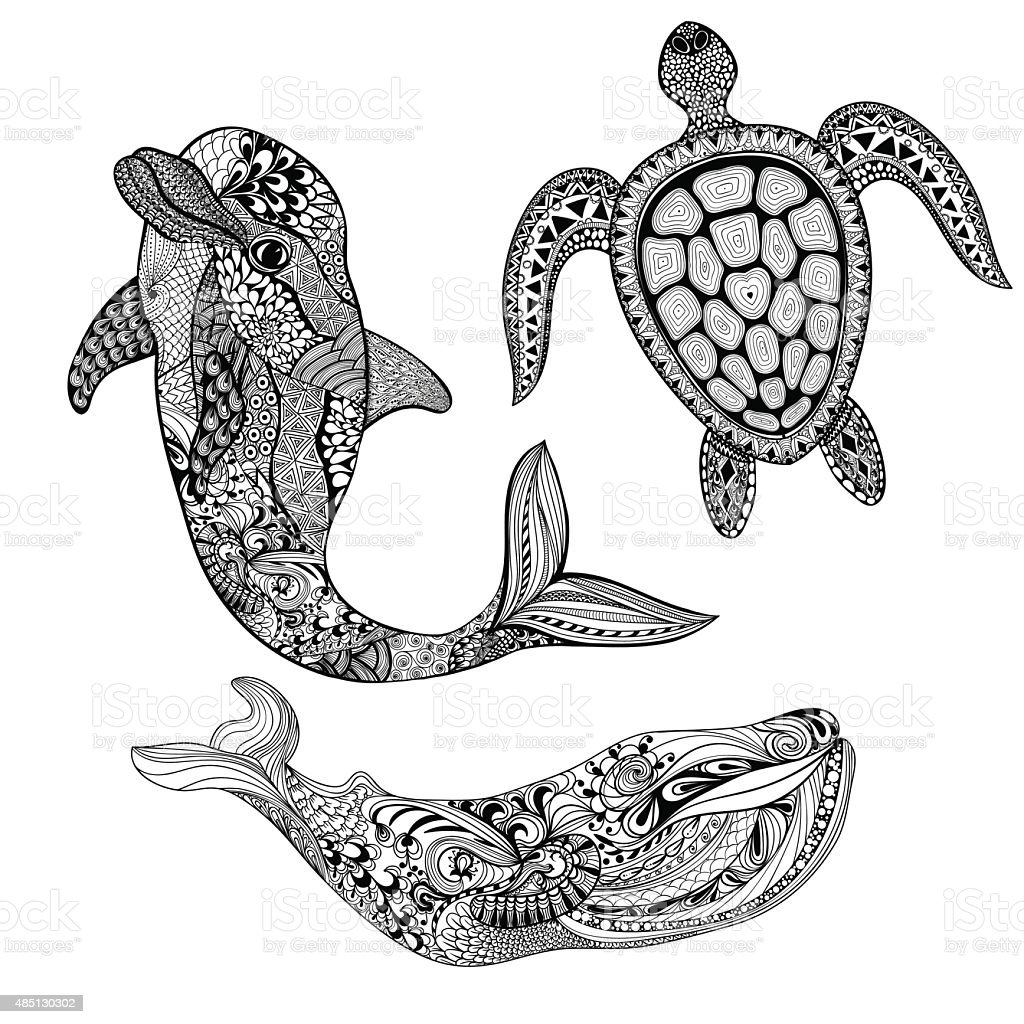 Set sea animals. Black dolphin, whale and tur vector art illustration