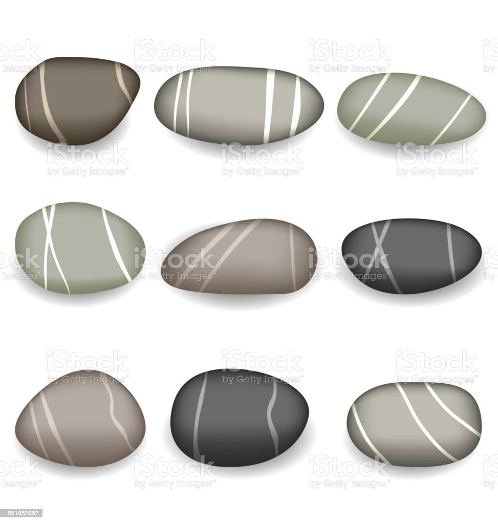 Set sea pebbles with shadows on white background vector art illustration