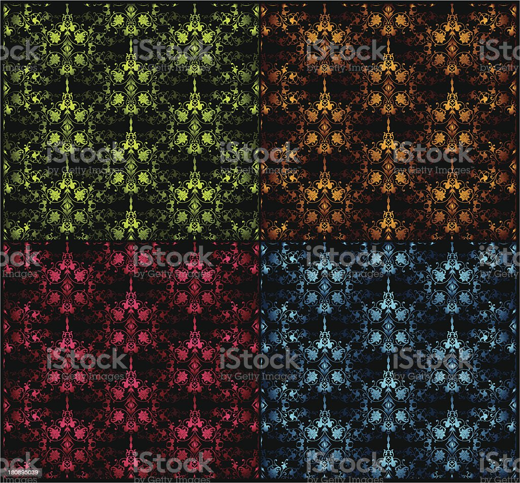 Set seamless damask pattern. Vector illustration royalty-free stock vector art