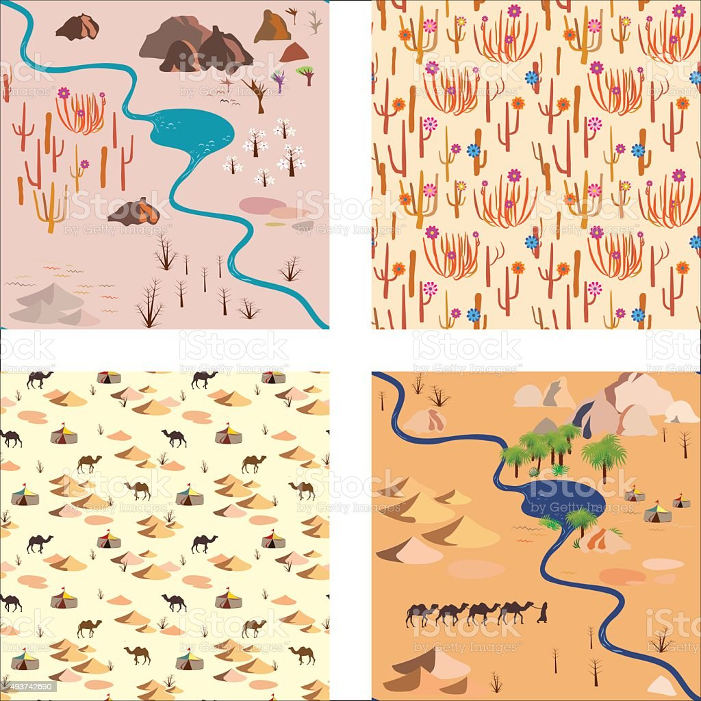 Set seamless desert pattern with river, palms rocks and camels vector art illustration