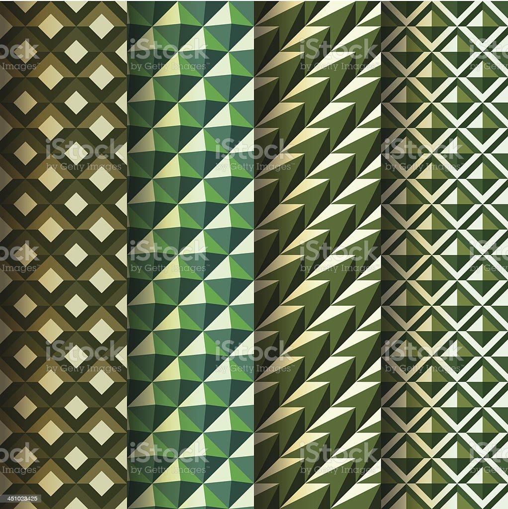 Set seamless geometrical patterns retro style royalty-free stock vector art