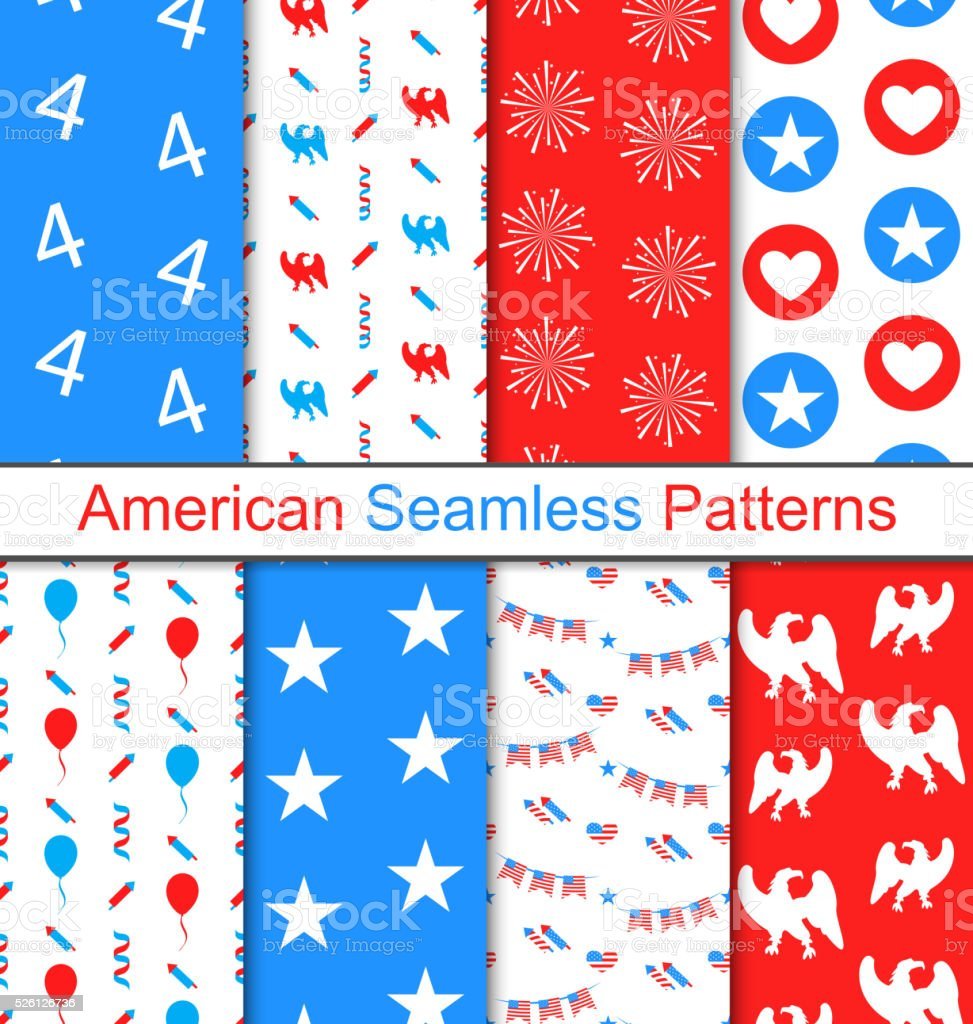 Set Seamless Pattern for Independence Day vector art illustration