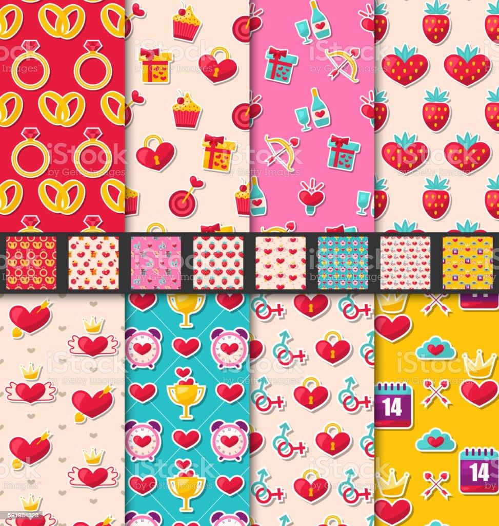 Set Seamless Patterns for Valentines Day vector art illustration