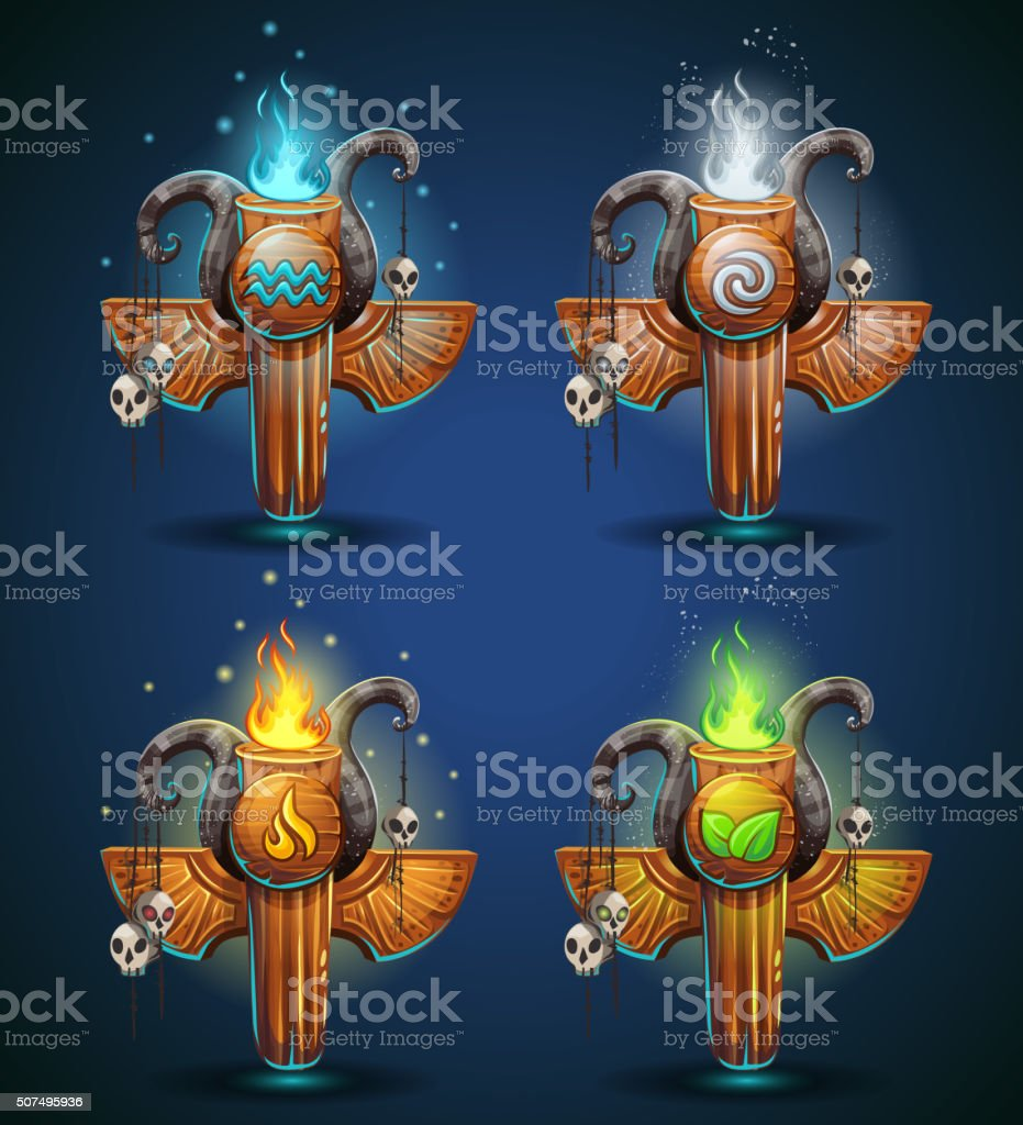 Set shaman totems - symbols of the four elements vector art illustration