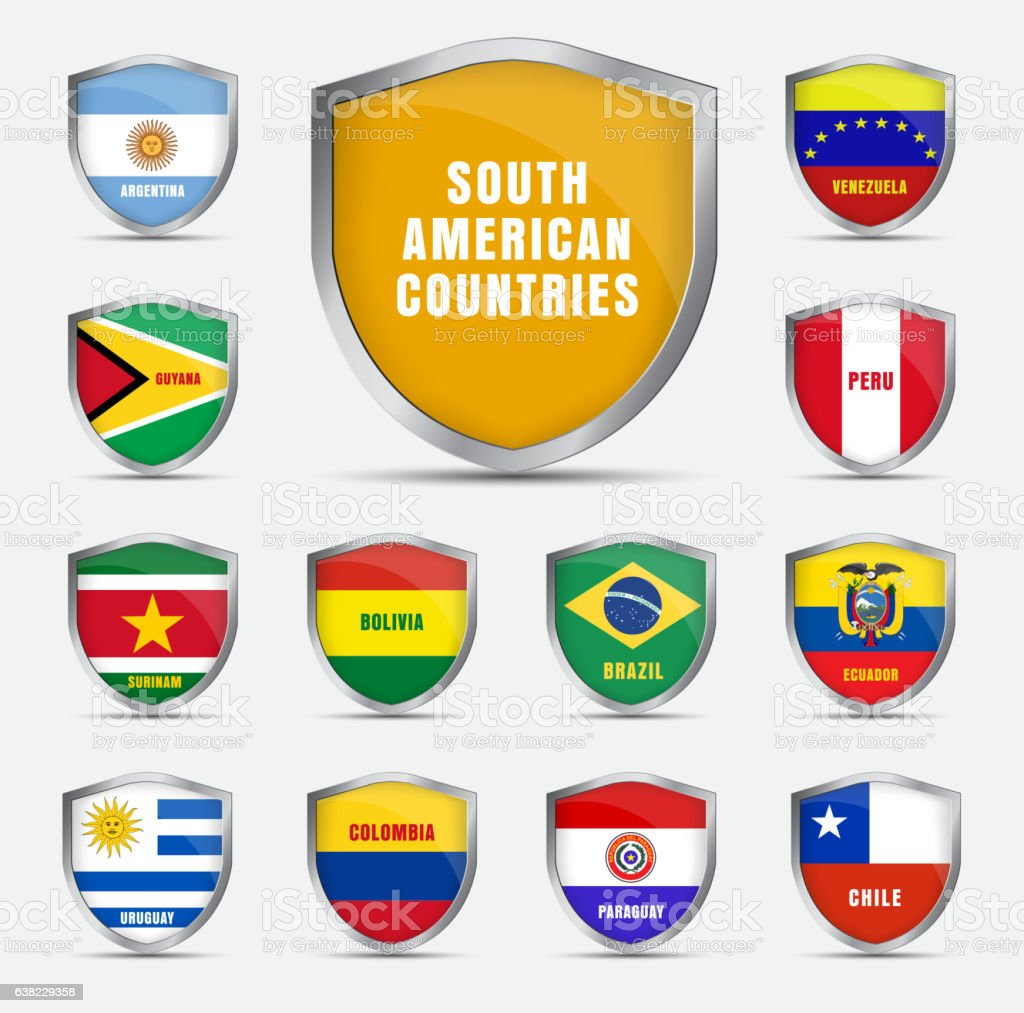 Set shields with flags of the South American countrie vector art illustration
