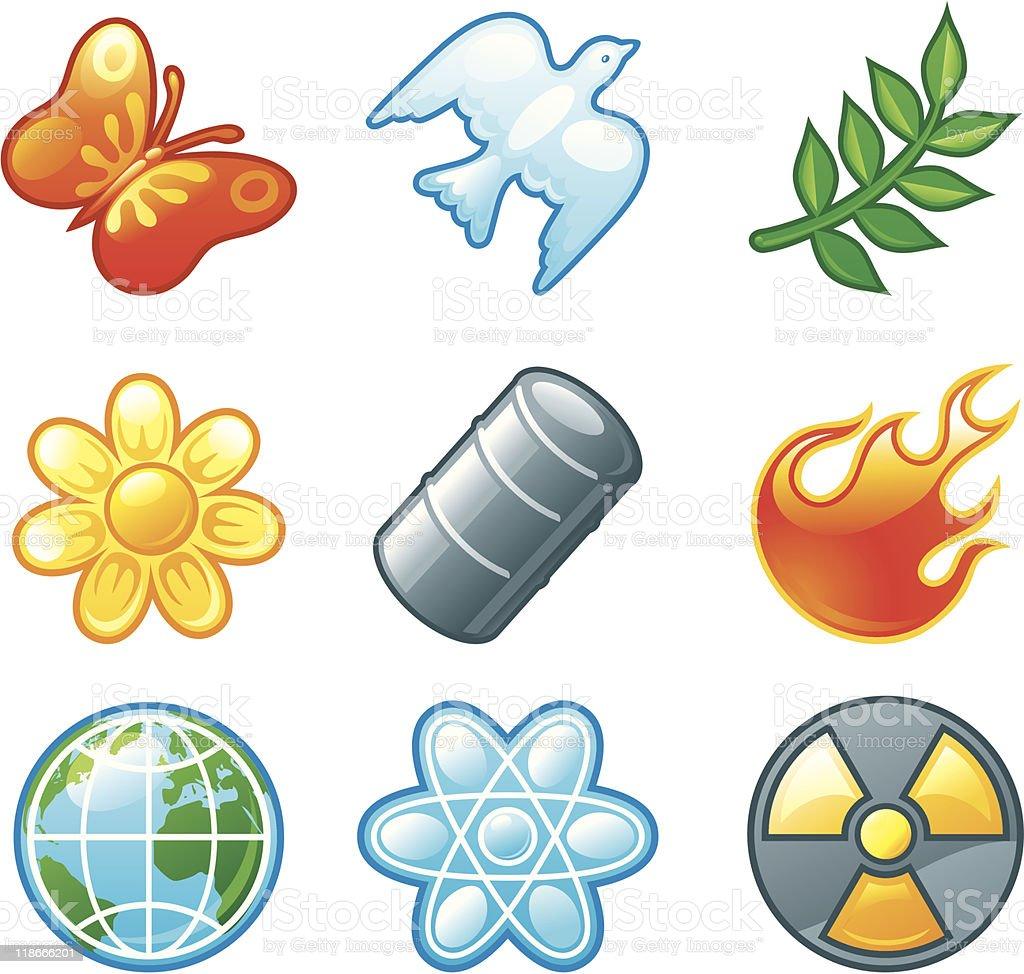 set shine environment icons royalty-free stock vector art
