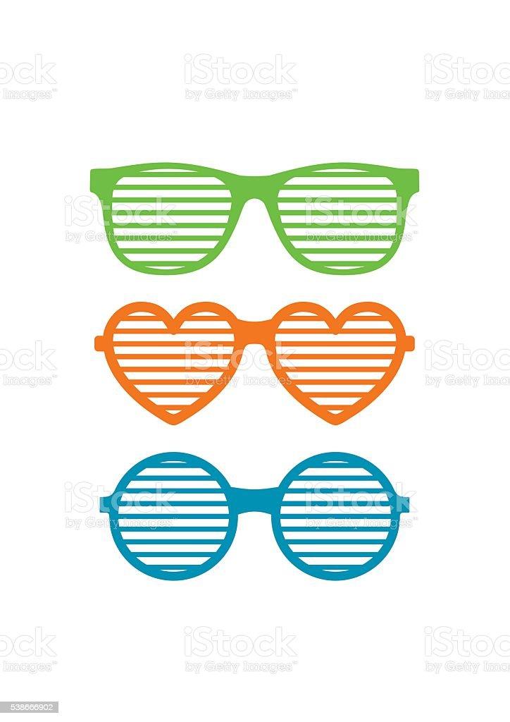 Set shutter glasses. Brindled or latticed sunglasses, summer youth glasses vector art illustration